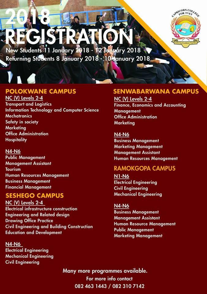 Capricorn Tvet College Registration 2019 Courses