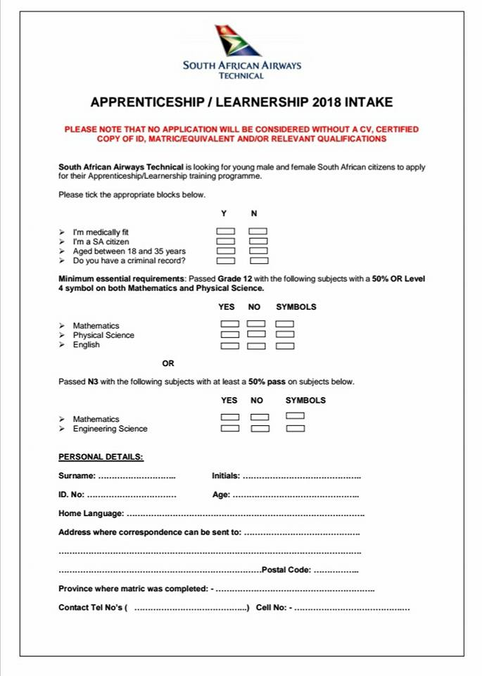 saa technical  u2013 apprenticeships    learnerships 2018    2019